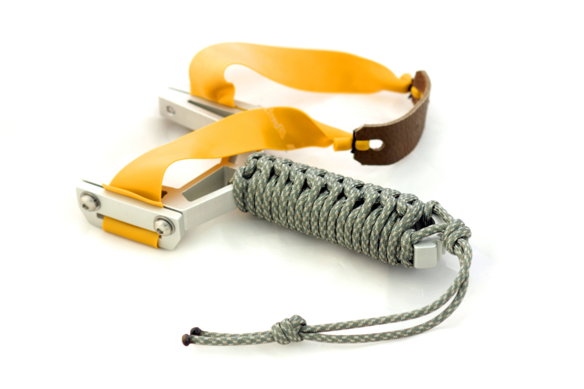 Montie Gear Y-Shot Slingshot - Clear Anodized Frame / Woodland Camo Paracord Wrap